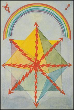 Thoth Tarot Eight of Wands (Swiftness)