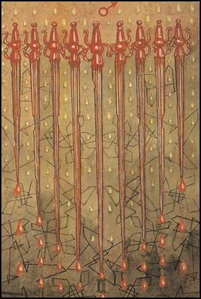 Thoth Tarot 9 of Swords (Cruelty)