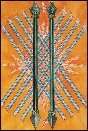 Thoth Tarot Ten of Wands (Oppression)