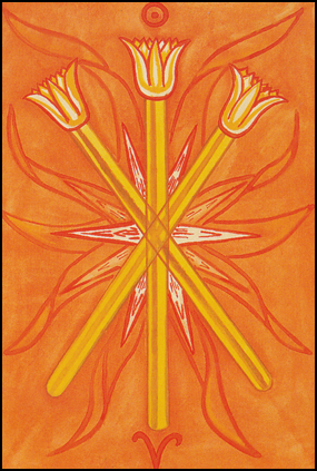 Thoth Tarot Three of Wands (Virtue)