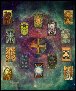 Part of the Tarot Disks image I made for my wall. The Thoth Tarot is © to the OTO.